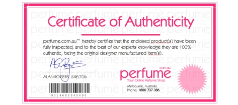 Certificate of perfume authenticity